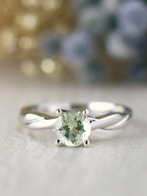 Mint Green Tourmaline Solitaire and Twisted Vine Solid 14 Karat Gold Engagement Ring