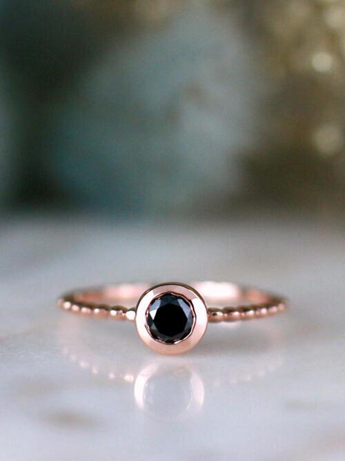 Black Diamond Bezel and Milgrain Detailing Solid 14 Karat Gold Engagement Ring