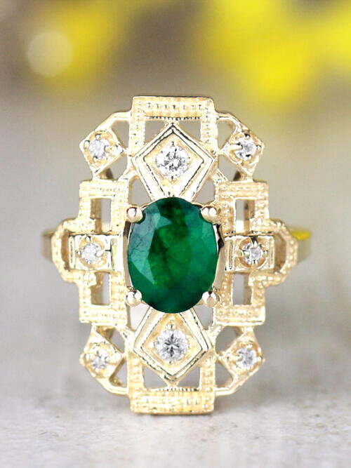8x6MM Natural Emerald and Diamond Art Deco Vintage Inspired Design Solid 14 Karat Gold Engagement Ring