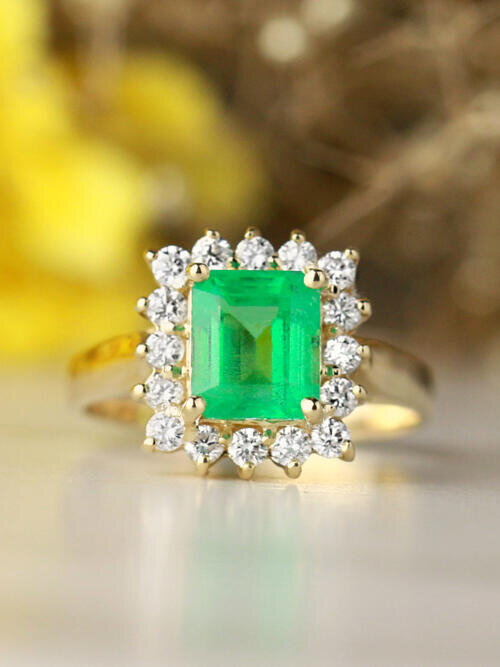 7.5x6MM Natural Emerald and Emerald Cut Diamond Halo Solid 14 Karat Gold Engagement Ring