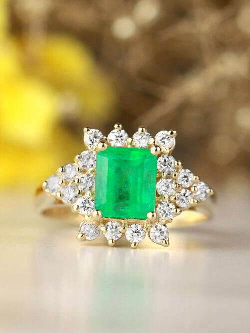Natural Emerald and Emerald Cut Cluster Solid 14 Karat Gold Cocktail Ring