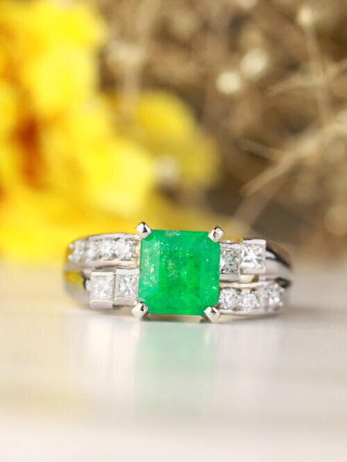 7x7MM Natural Princess Cut Emerald with Channel and Prong Setting Diamond Solid 14 Karat Gold Engagement Ring