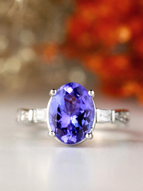 Natural Oval Tanzanite with Baguette Diamonds Three Stone Filigree Patterned Solid 14 Karat Gold Engagement Ring