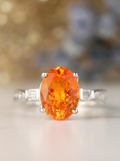 10x8MM Natural Orange Garnet Baguette Diamond Three Stone Solid 14 Karat Gold Engagement Ring