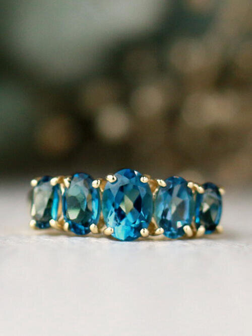 Natural London Blue Topaz Five Stone Solid 14 Karat Gold Band