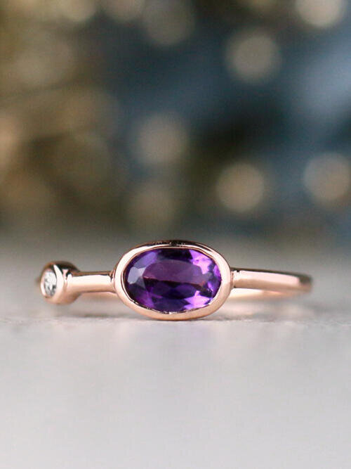 Natural Amethyst and Baby Diamond Bezel Birthstone Solid 14 Karat Gold Stackable Engagement Ring