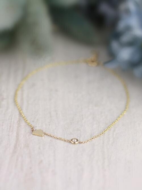 3.3x5.5MM Petite Whimsical Cloud One Stone Solid 14 Karat Gold Bracelet