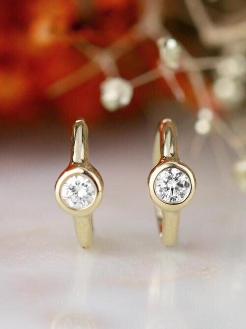 Huggie Bezel Hoop Solid 14 Karat Gold Earring