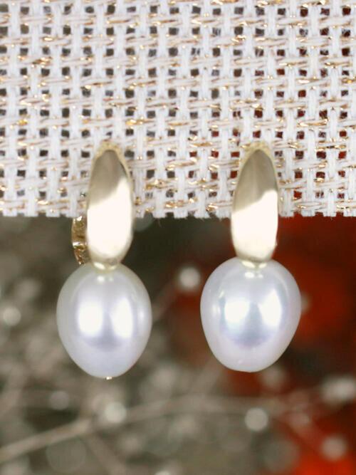 Classic Pearl Hoop Solid 14 Karat Gold Earring