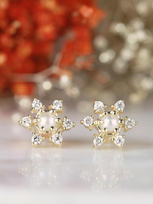 Natural Pearl Diamond Sunburst Solid 14 Karat Gold Earring