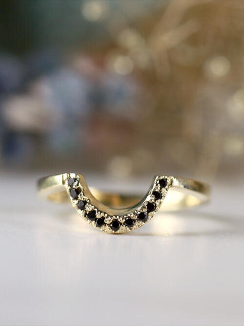 U-Shaped Matching Black Diamond Solid 14 Karat Gold Wedding Band
