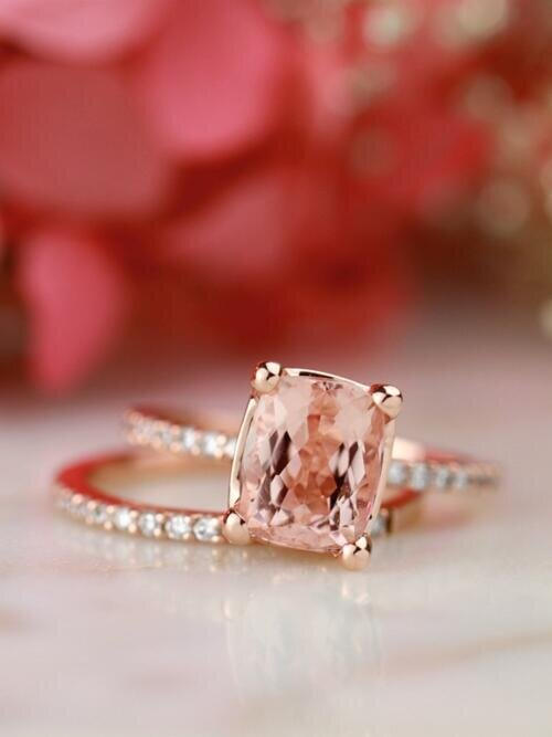 SET: Cushion Cut Morganite + Diamond Eternity Solid 14 Karat Gold Rings