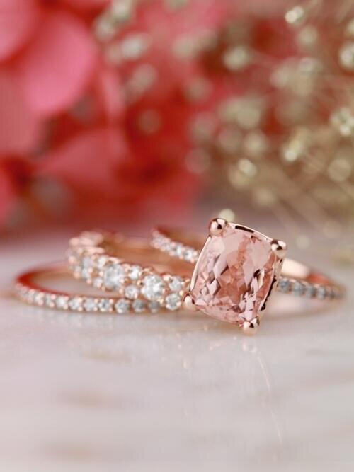 SET: Cushion Cut Morganite + Diamond Eternity + Diamond Cluster Solid 14 Karat Gold Rings