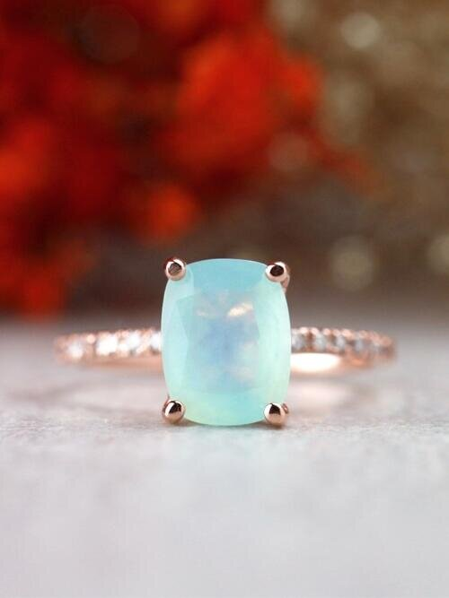 Seafoam Blue Cushion Cut Peruvian Opal Solid 14 Karat Gold Engagement Ring