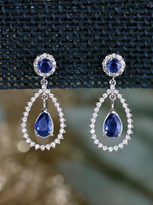 Natural Sapphire Chandelier Dangle Diamond Solid 14 Gold Karat Earrings