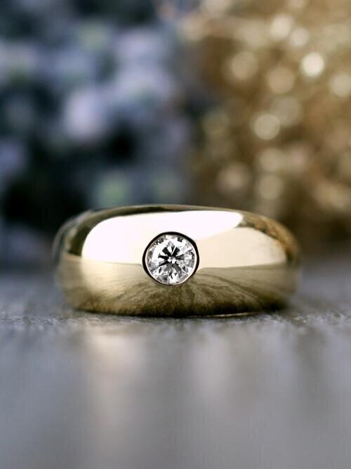 0.40CT Diamond Dome Solid 14 Karat Gold Men's Signet Ring