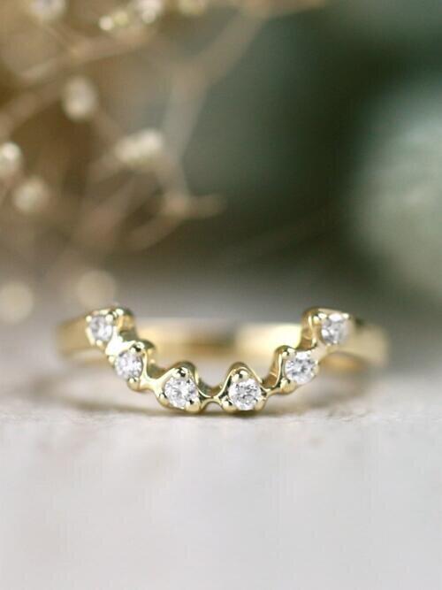 U-Shaped Floral Diamond Matching Solid 14 Karat Gold Band
