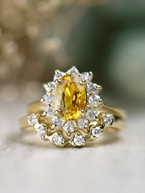 SET: Classic Yellow Sapphire + U-Shaped Floral Diamond Halo Solid 14 Karat Gold Ring