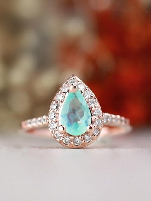 Pear-Shaped Peruvian Opal with Diamond Halo Solid 14 Karat Gold Engagement Ring