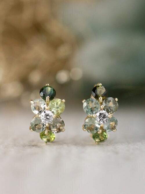 Natural Earthy Green Tourmaline and Diamond Cluster Solid 14 Karat Gold Huggie Hoop Earrings