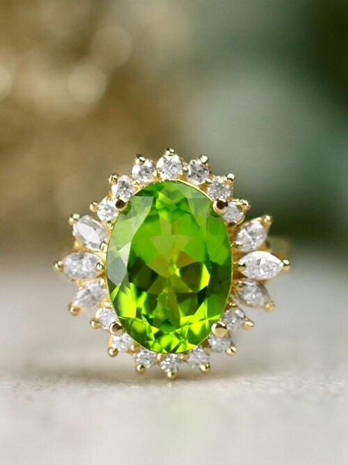 13x10MM Fancy Shamrock Green Peridot with Baguette and Round Diamond Solid 14 Karat Gold Cocktail Ring