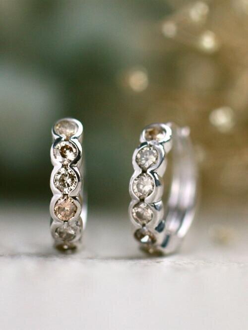 0.90CT Natural Champagne Diamond Solid 14 Karat Gold Bezel Hoop Earrings