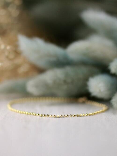 1.5MM Beaded Solid 14 Karat Gold Ball Bracelet Chain