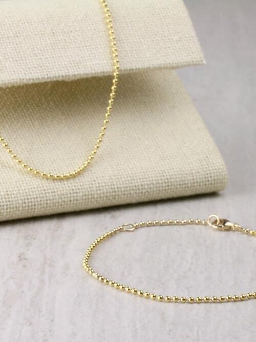 1.5MM Ball Chain and 1.5MM Solid 14 Karat Gold Bracelet Set