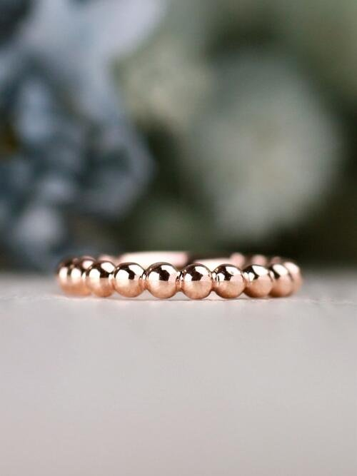 3MM Beaded Ball Solid 14 Karat Gold Stackable Ring