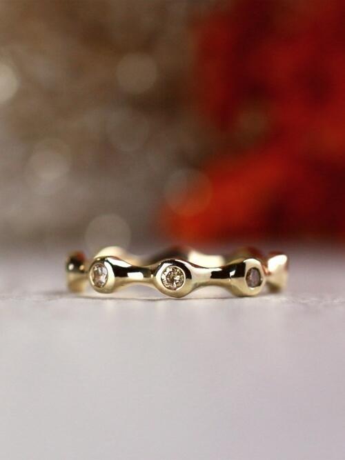 Champagne Diamond Bezel Freeform Stackable Solid 14 Karat Gold Ring