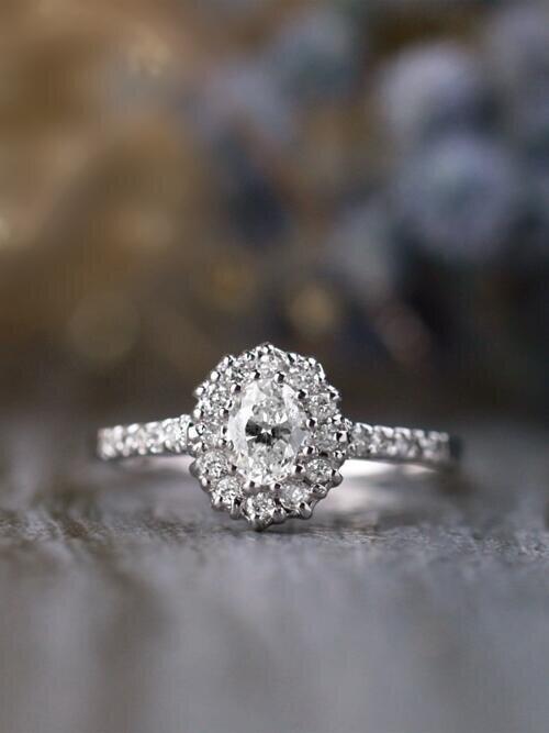 Oval Diamond Halo Solid 14 Karat Gold Engagement Ring