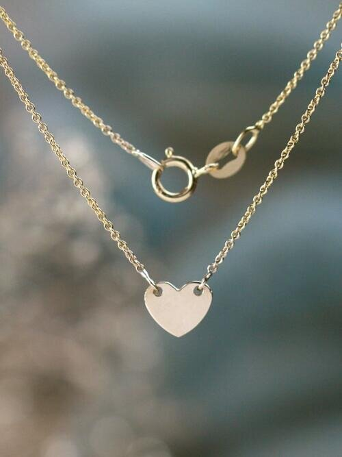 Charming Solid 14 Karat Gold Heart Anklet