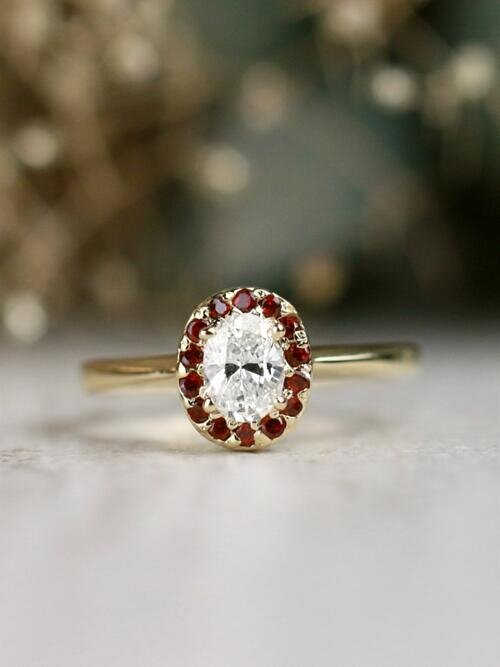 0.50CT Natural Oval Diamond Garnet Halo Solid 14 Karat Gold Engagement Ring
