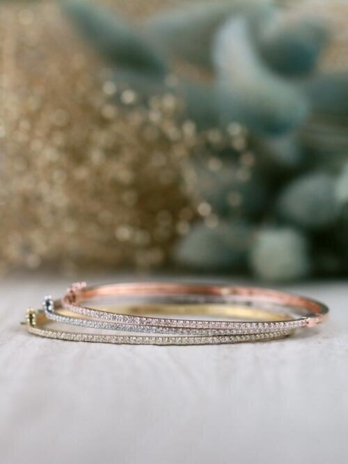 SET: 1.6MM Tri-tone Dainty Diamond Solid 14 Karat Gold Bangles