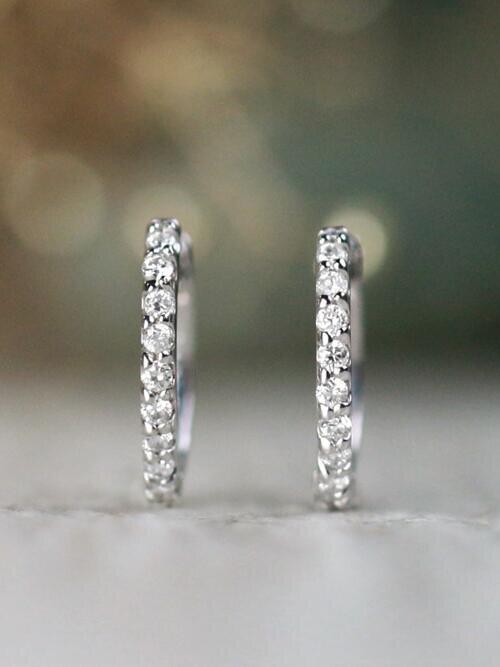 Petite Diamond Solid 14 Karat Gold Huggie Hoop Earrings