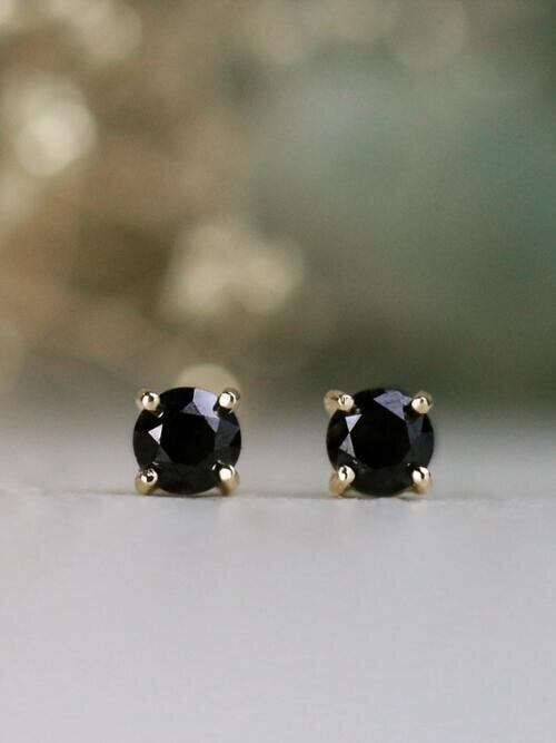 0.80CT Natural Black Diamond Solid 14 Karat Gold Studs