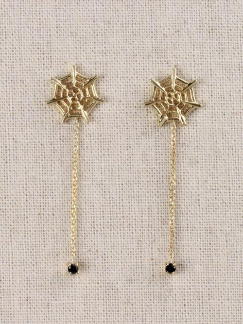 Itsy Bitsy Natural Black Diamond Spider and Web Solid 14 Karat Gold Chandelier Earrings