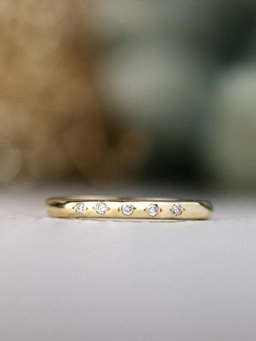 Simple 5 Stone Diamond Solid 14 Karat Gold Stackable Wedding Band