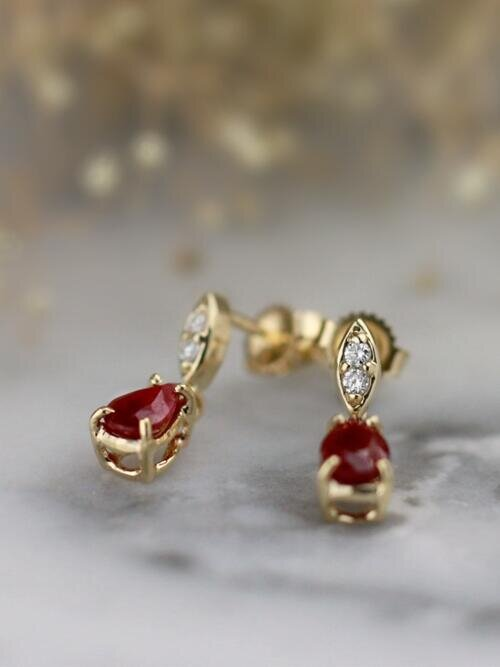 Natural Ruby Marquise Diamond Solid 14 Karat Gold Chandelier Earrings