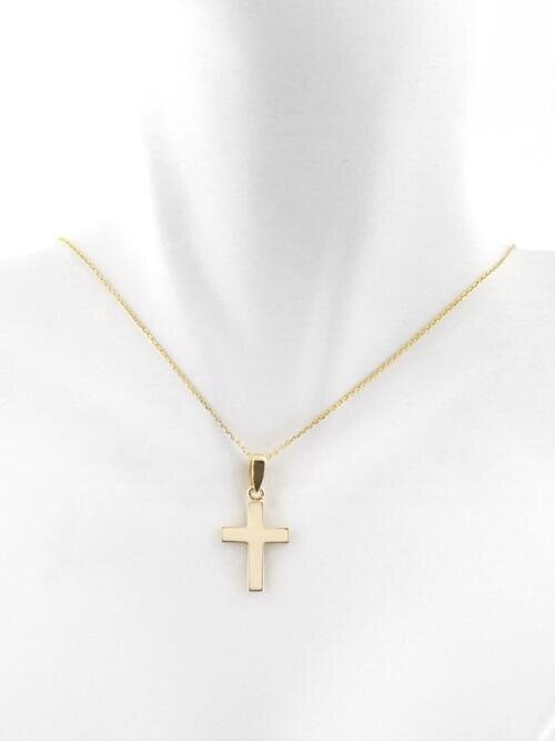 Fine jewelry simple solid 14 karat gold cross pendant necklace simple solid 14 karat gold cross pendant necklace aloadofball Image collections
