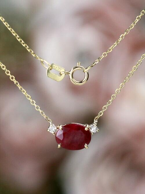 7x5MM Natural Ruby with Diamond Solid 14 Karat Gold Necklace