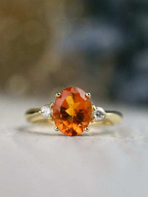 9x7MM Citrine and Diamond Solid 14 Karat Gold Engagement Ring