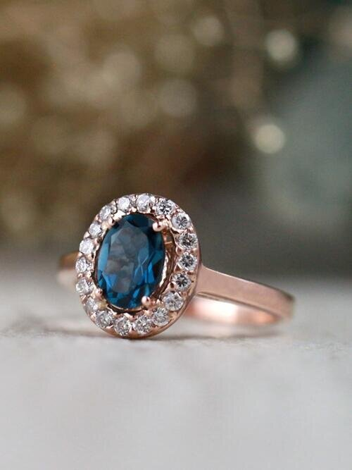7x5MM London Blue Topaz Diamond Halo Solid 14 Karat Gold Engagement Ring