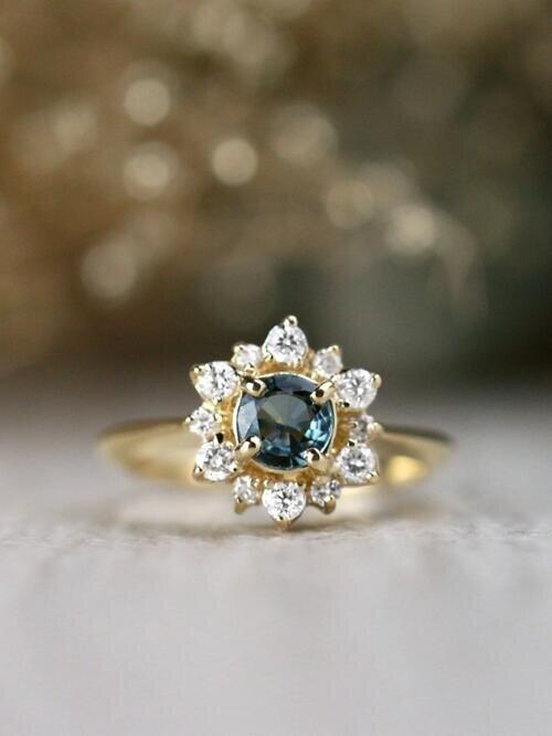Blue-Green Sapphire Diamond Celestial Solid 14 Karat Gold Engagement Ring