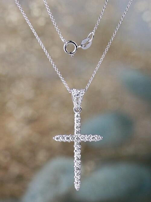 0.50CT Diamond Cross Solid 14 Karat Gold Pendant