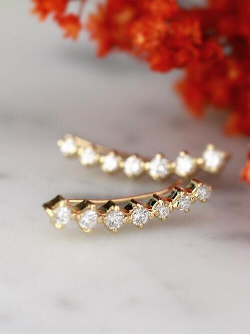 0.54CT Natural Diamond Solid 14 Karat Gold Earring Climbers