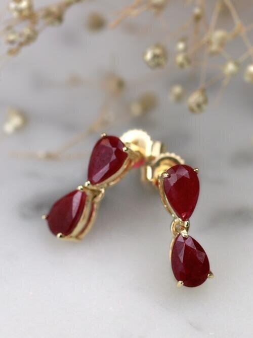 Natural Ruby Teardrop Solid 14 Karat Gold Chandelier Earrings