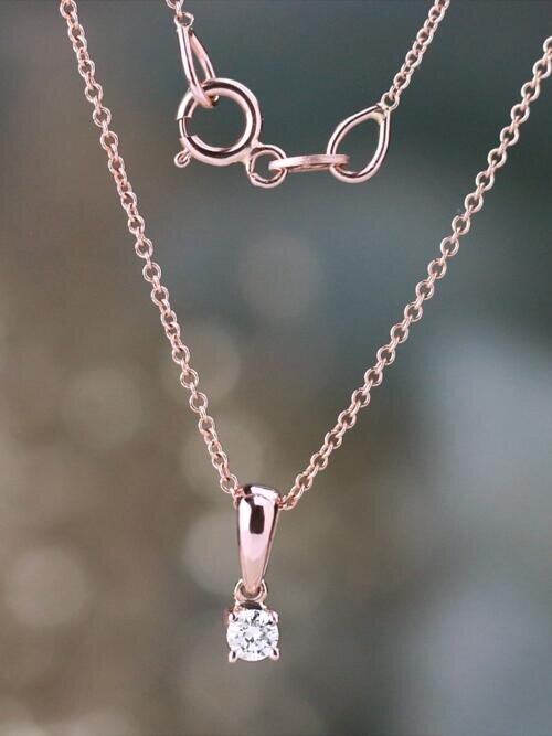 Petite Diamond Classic Four Prong Solid 14 Karat Gold Pendant