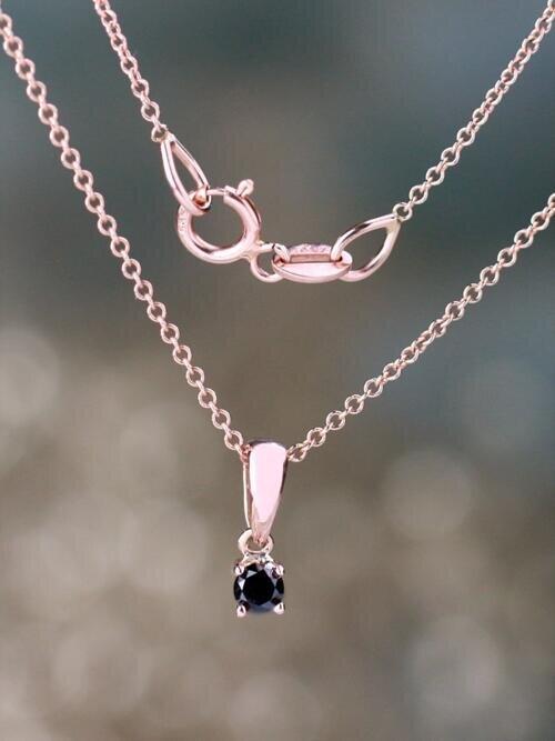Petite Natural Black Diamond Classic Four Prong Solid 14 Karat Gold Pendant
