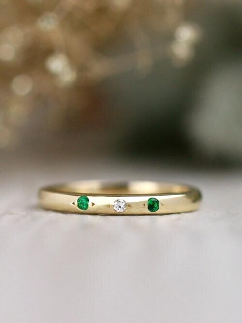 Emerald and Diamond Three Stone Solid 14 Karat Gold Ring